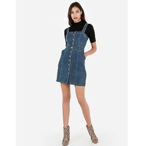 NWT Express Button Front Denim Mini Dress Size M
